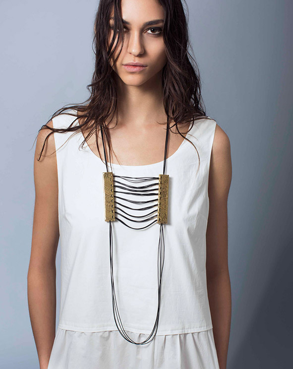 weaving leather long necklace